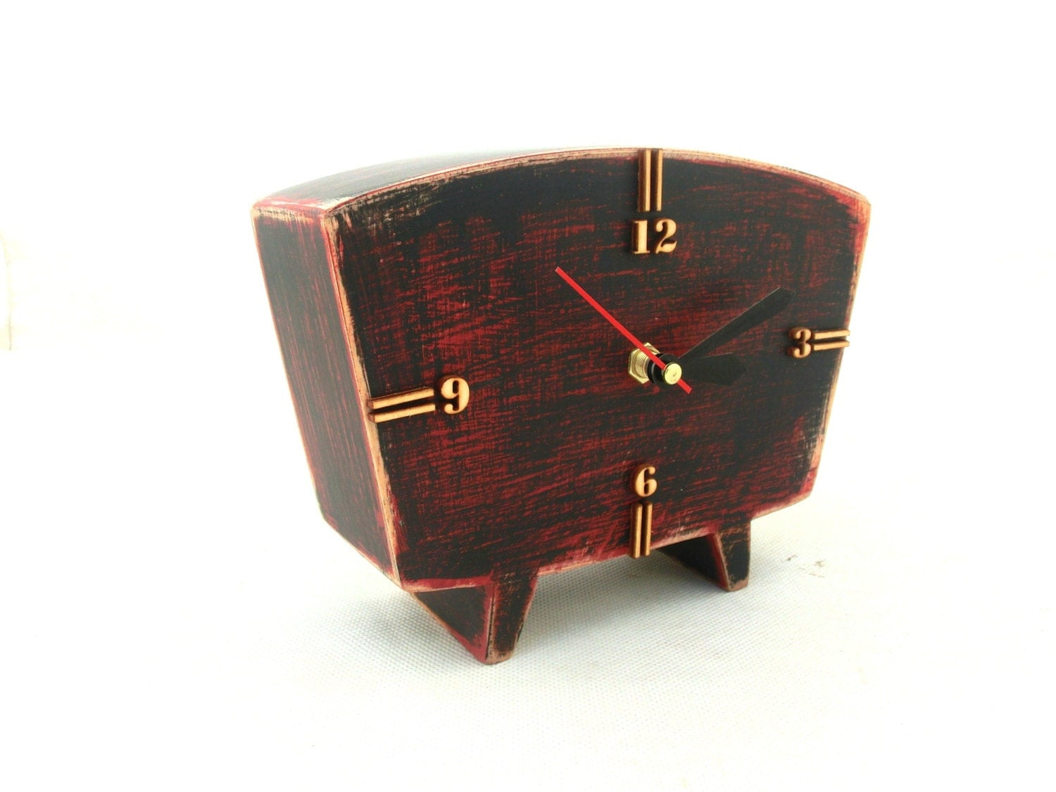 Table clock wood red black desk wooden