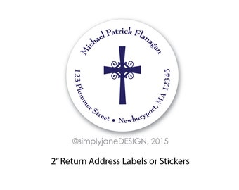 Baptism or First Communion Return Address Labels -- 2 inches, Sheet of 20
