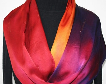 Red Silk Scarf. Orange Hand Painted Scarf. Handmade Silk Satin Shawl SPANISH KISS. Birthday Gift. Gift-Wrapped. Offered in Two SIZES