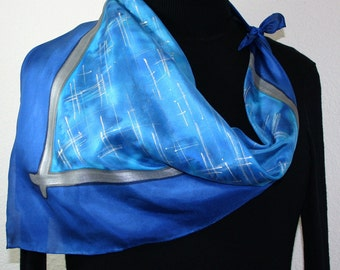Blue Handpainted Silk Scarf. Turquoise Handmade Square Silk Scarf BLUE PLANET. Birthday, Bridesmaid Gift. Gift-Wrapped Offered in Two SIZES