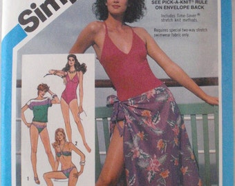 Oleg Cassini One Piece Swimsuit, Bikini, Top and Pareu Sewing Pattern - Simplicity 6390 - Sizes 8-10-12, Bust 31 1/2 - 34