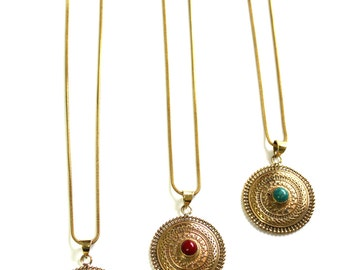 Indian Rajasthan Brass circle pendant  Long Layering necklace Red coral, Black Onyx or Turquoise Bohemian jewelry Designed by Inali