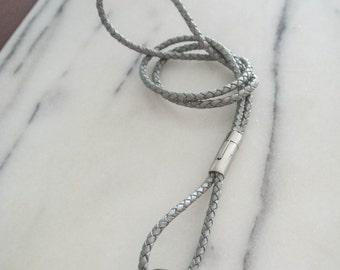 Necklace lanyard keychain leather braided grey detachable work ID badge
