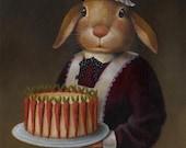 Rabbit Portrait Print - Rabbit Art - Victorian - Downton Abbey - Cook's Gift - Chef Gift - Baker's Gift - Housewarming - Hostess Gift
