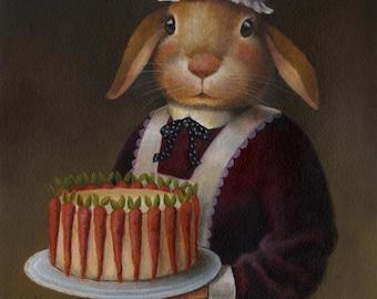 Rabbit Portrait Print -Rabbit Art - Edwardian - Victorian - Downton Abbey - Cook - Chef