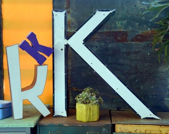 Vintage Marquee Sign Letter Capital 'K': Large Metal Black & White Wall Hanging Initial -- Industrial Neon Channel Advertising Salvage