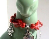 Mardi Gras Mask Charm Bracelet in Festive Red Mother of Pearl, Sizes 6' to 9'
