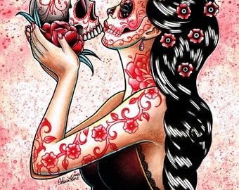 Eternity Art Print - 5x7, 8x10, or 11x14 - Day of the Dead Sugar Skull Girl Kissing Skull Tattoo Flash Flowers Pin Up Red and Pink
