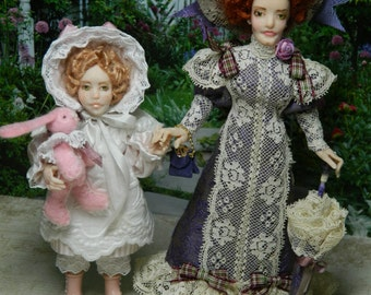Victorian, Miniature, 1/12th scale Dolls, Lady Marjorie with Frances and her bunny Tillie