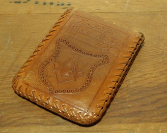 Vintage Hand Tooled Masonic Leather Wallet  -  15-253