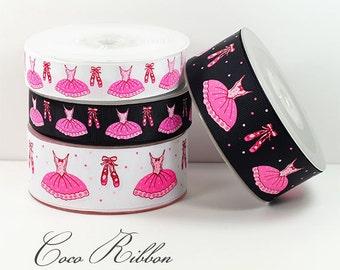 """5/10/25 Yards 7/8"""" 1.5""""  Ballet Ballerina Dance Dress Tutu Grosgrain Ribbon - White/ Black"""