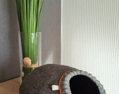 Pet bed - cat cave - cat house - dog bed - handmade wool cat bed - eco - grey - white - brown - Valentine's day gift