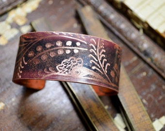 Metal Ink'd - Copper Cuff Bracelet Hand Engraved & Patinaed Wildflower Inspired - ReaganJuel