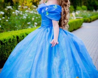 Cinderella New 2015 Live Action Inspired Gown with Butterflies Dress Custom Made