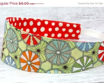 Reversible Fabric Headband- Children Toddler Remix Circus Circles on Green with Polka Dots on Red