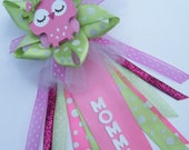 "Owl ""Mommy"" Baby Shower CORSAGE in Pinks and Green"
