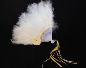 Girls Feather Fan - Cream Feather Fan - Child's Fan - Tea Party Accessory - Cream Feather Fan - FF39