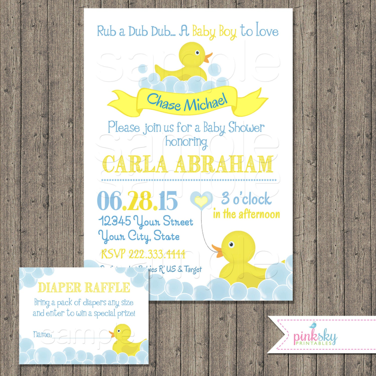 rubber ducky baby shower invitation with free diaper raffle