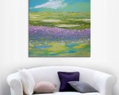 Lavender field - art village valley relax painting grass home hanging art light green canvas original painting landscape impasto oil knife