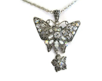 rhinestone butterfly necklace, dangling flower, vintage, milk glass stones, silver tone, lariat style, y necklace, nature inspired