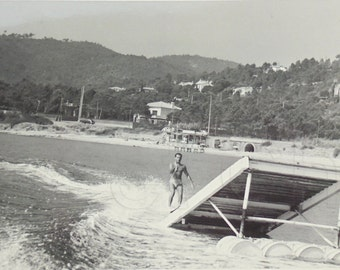 French Vintage Photograph - Man Water Skiing on to a Ski Jump