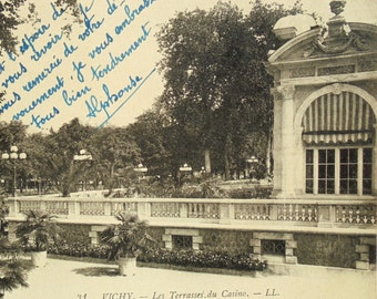 Vintage French Postcard - The Casino Terraces in Vichy, France
