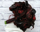 Wedding Bouquet Real touch deep red black calla lily ranunculus silk bridal bouquet