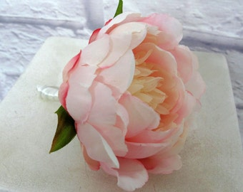 Boutonniere - Blush pink peony boutonniere - Groom groomsmen wedding boutonnieres