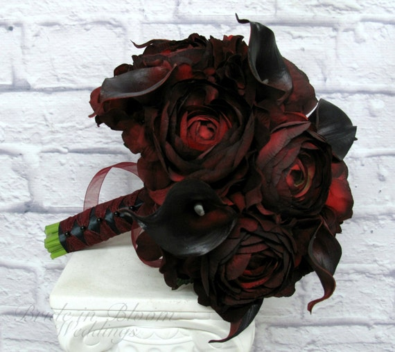 Wedding Bouquet Red Black Real Touch Calla Lily