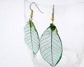 real leaf skeleton earrings