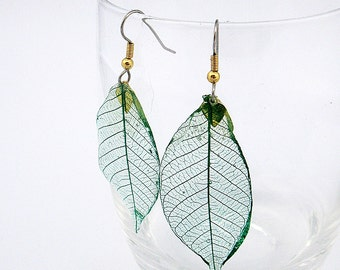 real leaf skeleton earrings
