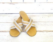 Hermes Paris ivory/tan leather/canvas open toe slip on sandals/off white Hermes mules/couture shoes/40