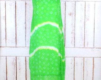 Vintage sheer layered lime green tie dye sleeveless maxi dress/boho/hippie festival dress/pullover tunic dress
