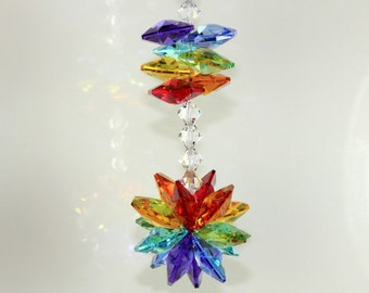 made with Swarovski® crystal, Double Chakra Star Burst Sunburst & Stacked Octagons SunCatcher Car Charm Home Ornament, Pearl Place N More