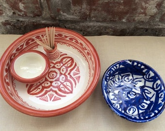 Pair of Hand-Painted Colorful Ceramic Bowls