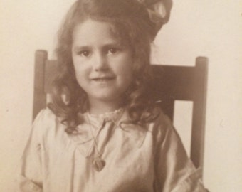 Cute Antique Victorian Photo - Little Girl with Bow and Heart Necklace - Vintage Photo