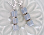 Trios of Faceted Swarovski Cubes, Earrings with Milky Gray Swarovski Crystals