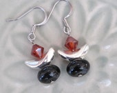 UU Chalice Earrings, Red Magma Swarovski Crystal, Silver Crescent, Black Onyx