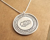 Elephant Family Necklace, Mom, Dad, Baby, Two Moms, Two Dads, New Family, Fine Silver, Sterling Silver Chain, Made To Order