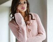 Pastel Pink Cardigan  Loose Jacket  Warm Sweater  Hand Knitted Cardigan