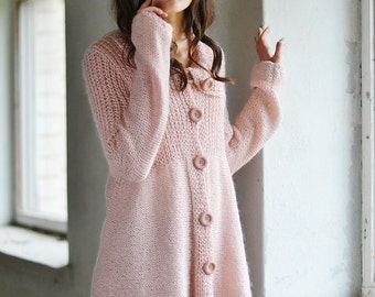 Pastel Pink Cardigan  Loose Jacket  Warm Sweater  Hand Knitted Cardigan