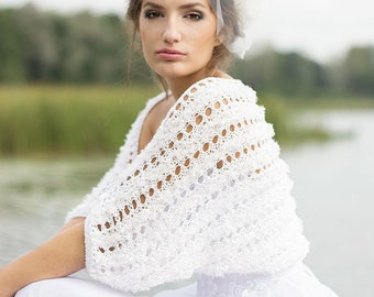 Wedding Shrug Bridal Shrug White Bolero Lace Shrug Occasions Hand Knitted Shrug