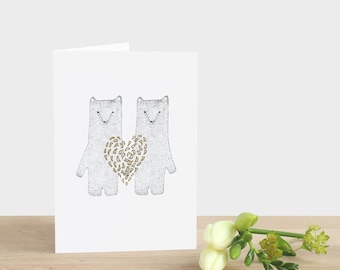 Heart of Gold Greeting Card - love valentines day Christmas birthday new baby wedding engagement thank you polar bear white black grey gray