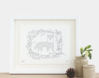 Wolf in the Wilderness - limited edition A5 print black white forest birthday mothers fathers day Christmas gift idea