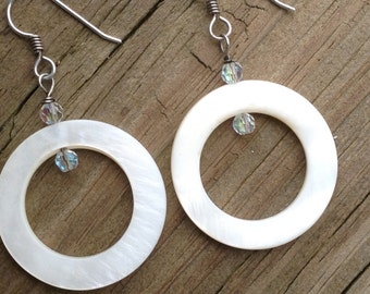 Mother Of Pearl, Swarovski Crystal and Sterling Silver Earrings