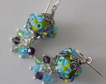 Aqua, Purple and Green Flower Lampwork and Swarovski Crystal Dangle Earrings, OOAK, Artisan, Handmade in USA, Free US Shipping