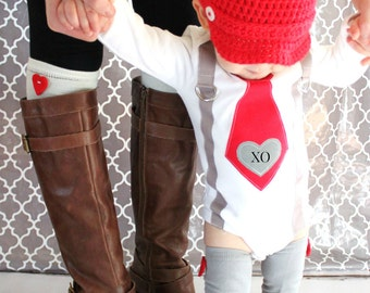 XO Embroidered Heart Baby Boy Valentine's Day Tie and Suspenders Bodysuit & Red Heart Leg Warmers Red Tie Gray Corduroy 1st Birthday Love