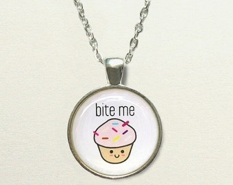Bite Me Cupcake Necklace, secret santa gift, cupcake jewelry, cupcake pendant, cupcake gift funny necklace, funny jewelry, gifts for friends