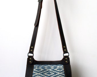 Handwoven and Leather Shoulder Bag- Leather Cross-body bag- leather and woven crossbody bag- indigo dyed bag- handwoven bag