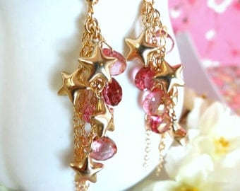 Gold star cluster pink mystic quartz cluster tassle earrings, gold pink quartz star cluster earrings, Christmas gift starry night earrings